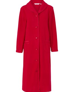 Slenderella Polar Fleece Button Housecoat - Red