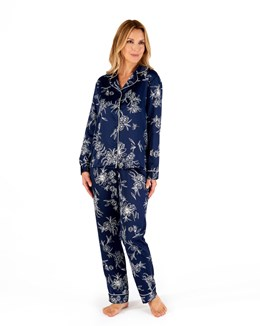Floral Matte Satin Long Sleeve Tailored Pyjama