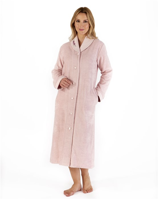 Slenderella 100% Cotton Button Down Housecoat with Embroidery