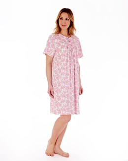 Floral Print 38'' Short Sleeve Jersey Nightdress With Picot Trim