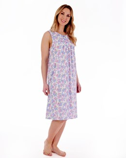 Floral Print Sleeveless 40'' Jersey Nightdress With Picot Trim