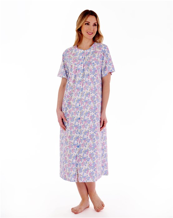 Floral Print Short Sleeve Button Down 46'' Jersey Nightdress With Picot Trim
