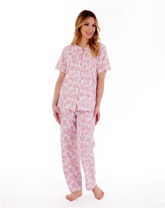 Floral Print Short Sleeve Jersey Pyjama With Picot Trim