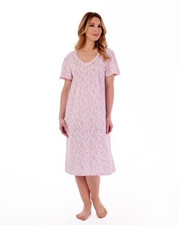 Paisley Floral Print 42'' Round Neck Nightdress With Pintuck Detail