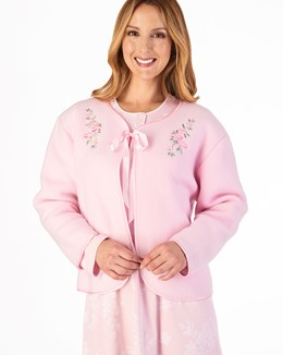 Slenderella Embroidered Polar Fleece Ribbon Tie Bed Jacket