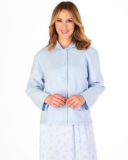 Slenderella Embroidered Polar Fleece Collar Style Bed Jacket