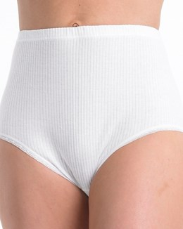 Slenderella White Ribbed Brief