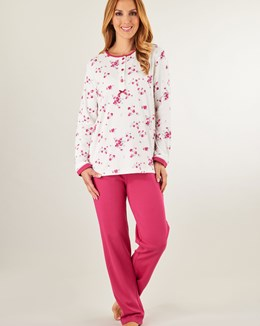 Slenderella Luxury Print & Plain Interlock Pyjama