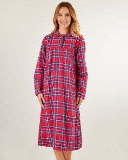 Slenderella Yarn Dyed Tartan Nightshirt With Collar