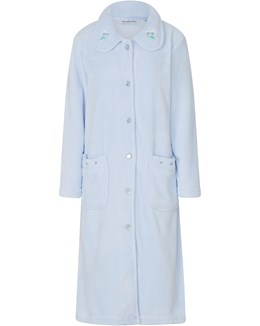 Slenderella Embroidered Coral Fleece Button Housecoat