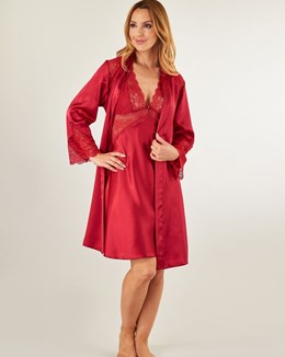Gaspé Satin Chemise Set - Red