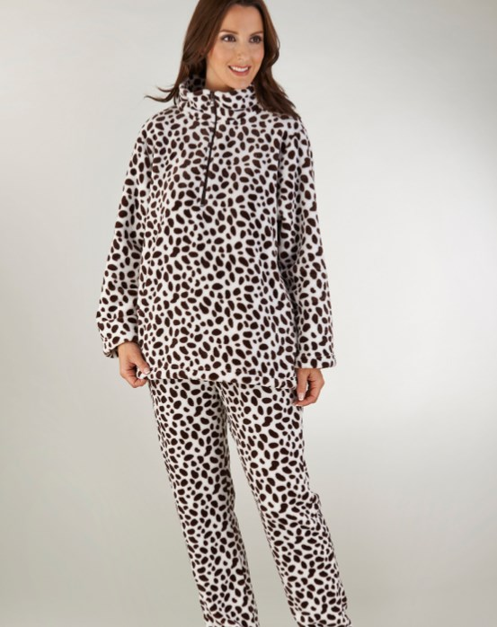 Slenderella Animal Print Flannel Fleece Pyjama