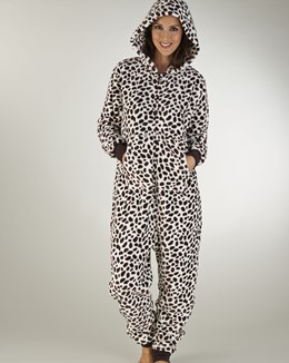 Slenderella Animal Print Flannel Fleece Onesie