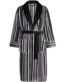 Walker Reid Stripe Flannel Fleece Dressing Gown