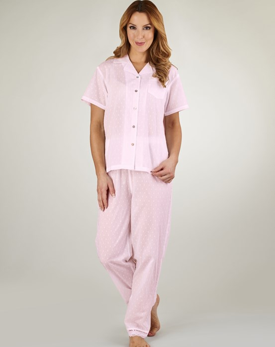 Slenderella Dobby Dot Tailored Pyjama