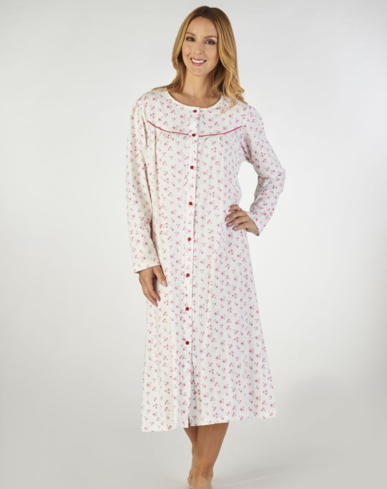 Slenderella Small Floral Print Long Sleeve Button Down Nightdress