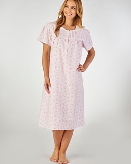 Slenderella Short Sleeved Floral Nightdress with Shaped Neck