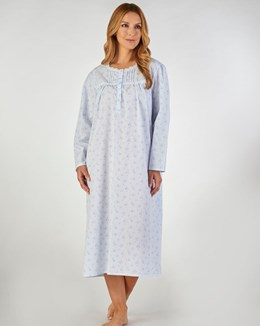 Slenderella Long Sleeved Floral Nightdress with Shaped Neck
