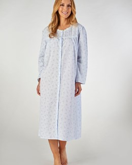 Slenderella Long Sleeved Button Down Floral Nightdress