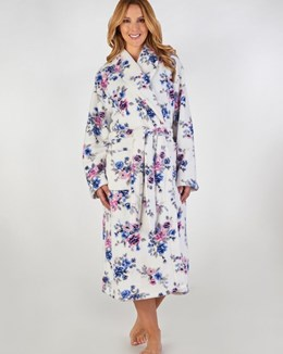 Slenderella Printed Floral Fleece Dressing Gown