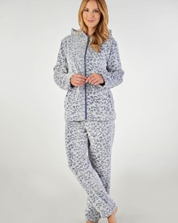 Slenderella Animal Print Hooded Pyjama