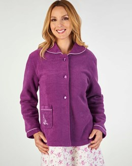 Slenderella Embroidered Boucle Fleece Bedjacket