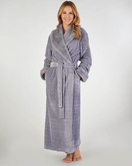 Slenderella Patterned Faux Fur Collar Dressing Gown