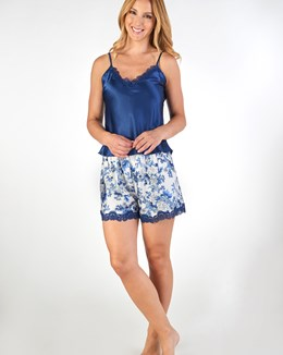 Gaspé Floral Satin Cami And Short Set