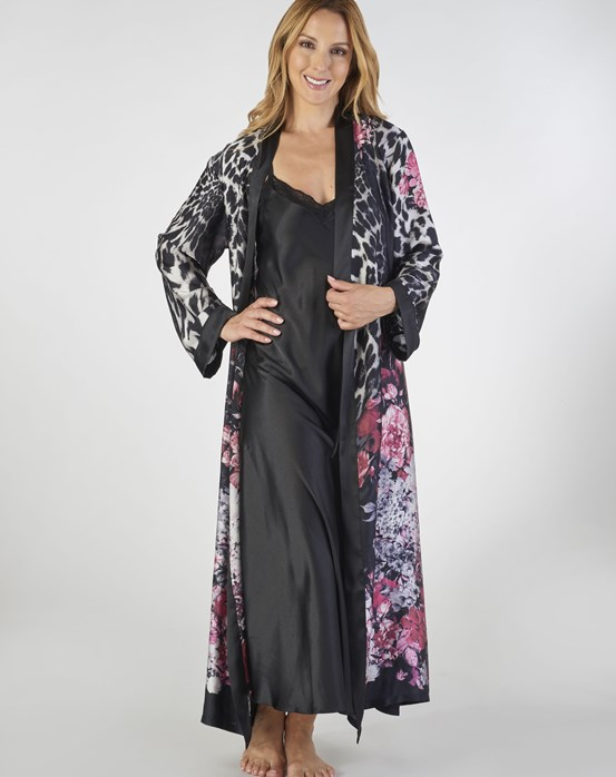 Gaspé Animal Floral Print Satin Nightdress And Wrap Set