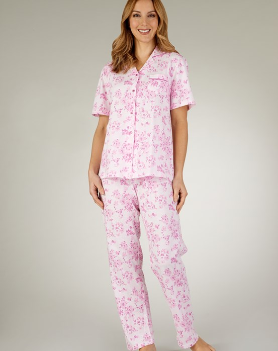 Slenderella Fresh Floral Jersey Tailored Pyjama