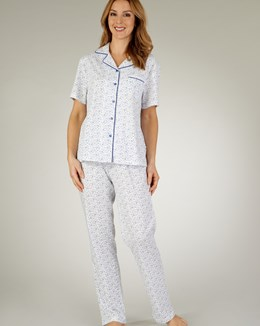 Slenderella Ditsy Short Sleeve Button Through Tailored Pyjama