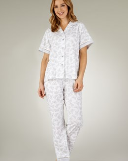 Slenderella Butterfly Print Button Down Tailored Pyjama