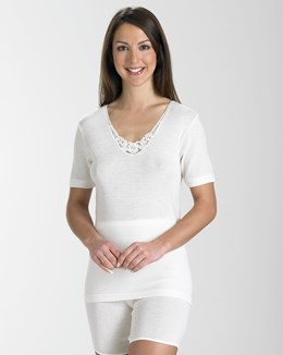 Slenderella Natural Luxury Short Sleeve Cami