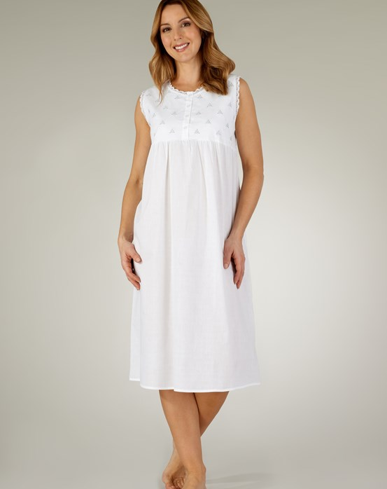 Slenderella Criss-Cross Embroidered Floral Sleeveless Nightdress