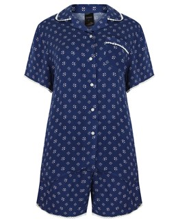 Gaspé Supersoft Geometric Print Tailored Pyjama With Shorts