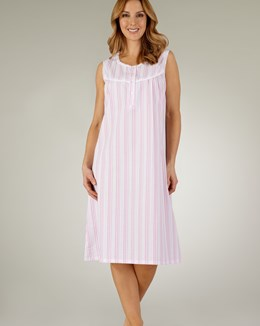 Slenderella Pastel Stripe Seersucker Sleeveless Nightdress