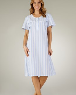 Slenderella Pastel Stripe Seersucker Short Sleeve Nightdress