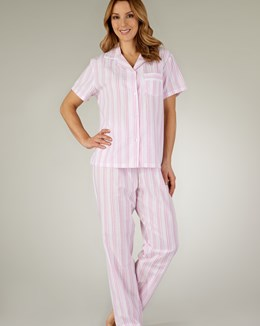 Slenderella Pastel Stripe Seersucker Tailored Pyjama
