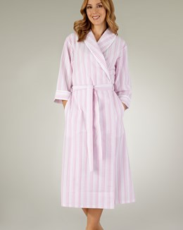 Slenderella Pastel Stripe Shawl Collar Wrap Housecoat