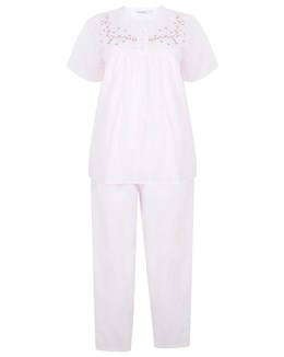 Slenderella Embroidered Yoke Pyjama