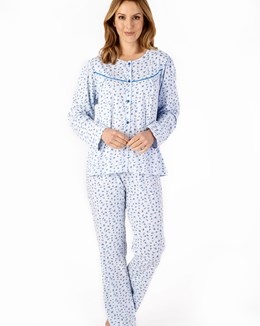 Small Floral Button Through Long Sleeve Pyjama