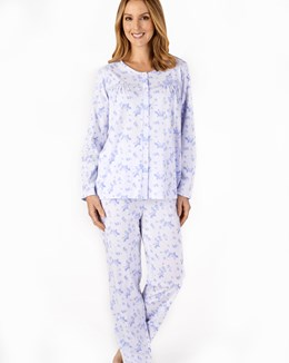 Floral Long Sleeve Jersey Button Through Pyjama