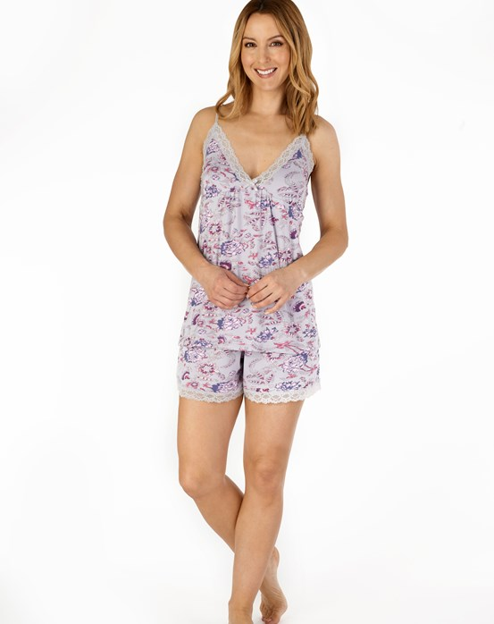 Supersoft Botanical Floral Print Adj Strap Cami Top and Short Set