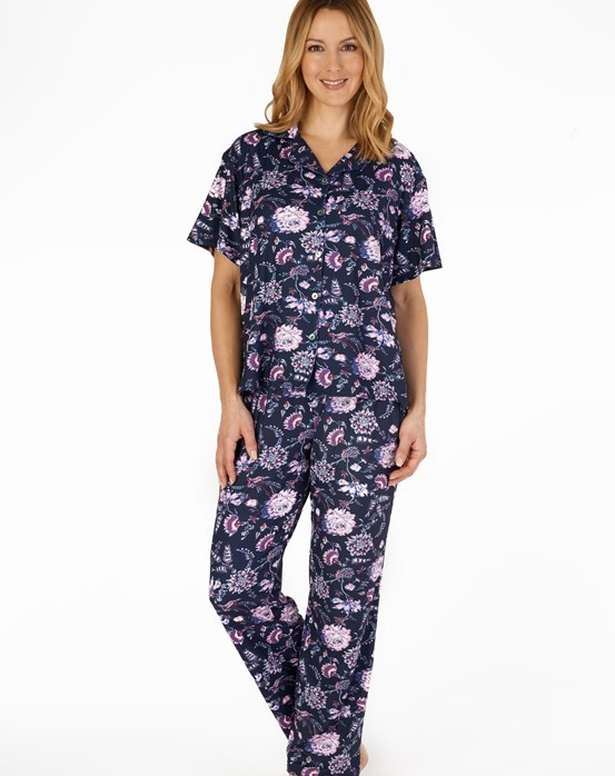 Supersoft Botanical Floral Print Short Sleeve Tailored Pyjama