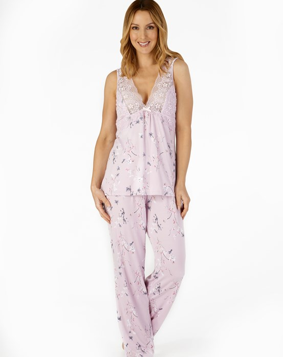 Supersoft Oriental Blossom Print Sleeveless Top and Trouser