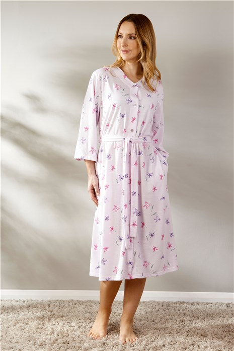 Spring Floral Jacquard Jersey 3/4 Sleeve Button Housecoat