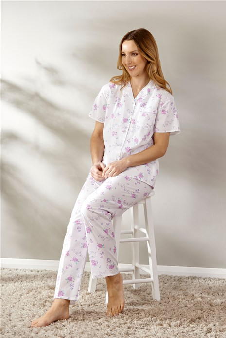 Floral Print Button Through Short Sleeve Woven Pyjama