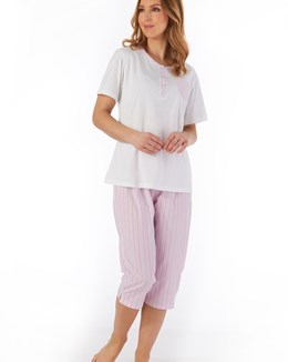 Pinstripe Seersucker Short Sleeve Cropped Pyjama
