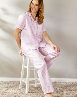 Pinstripe Seersucker Short Sleeve Button Through Pyjama