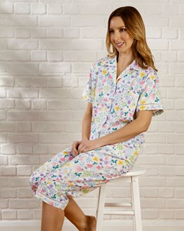 Multi Coloured Floral Tailored Short Sleeve Woven Cropped Pyjama